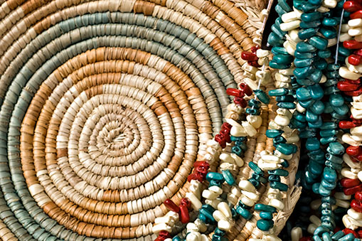 tribal basket and beads